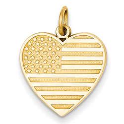 14 Karat Gold American Flag Heart Pendant