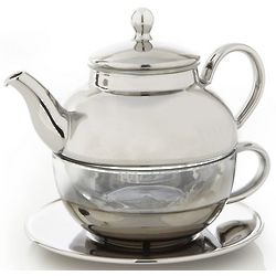 Silver and Glass Tea for One Set