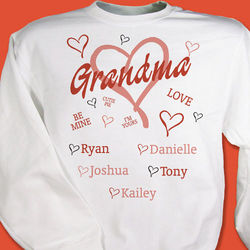 Youth's Personalized Red Hearts Sweatshirt