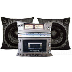 Boombox Cassette Player Deck Pillow Set