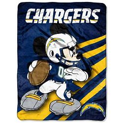 San Diego Chargers Mickey Mouse Throw Blanket
