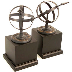 Solid Brass Sundial Bookends