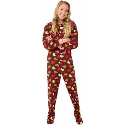 Chocolate Brown with Hearts Fleece Adult Footed Pajama