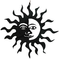 Handcrafted Metal Sun Face Wall Art