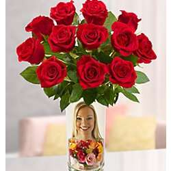 Red Roses in Personalized Vase