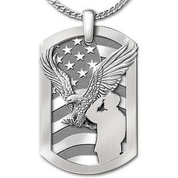 Service Before Self Military Tribute Stainless Steel Dog Tag