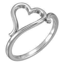 14K White Gold Freeform Heart Ring