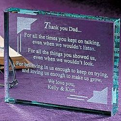 Thank You Dad Beveled Glass Paperweight