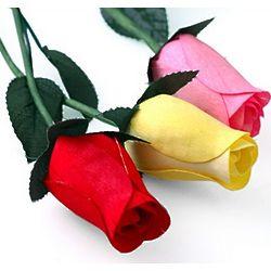 Long Stem Wooden Rose