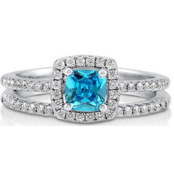 Cushion Aquamarine CZ Sterling Silver Halo Bridal Ring Set