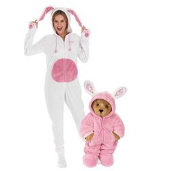 Teddy Bear and Wild Style Bunny Hoodie-Footie