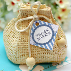 Mini Natural Woven Drawstring Favor Sacs