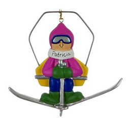 Personalized Female Skier on Chairlift Ornament