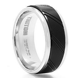 Black and White Tungsten Wedding Band with Groove Design