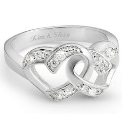 Sterling Silver Two Hearts Couples Ring