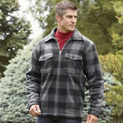 Men's Charcoal Plaid/Faux Sherpa Zip Jacket