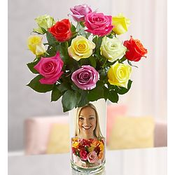 Assorted Roses in Personalized Vase