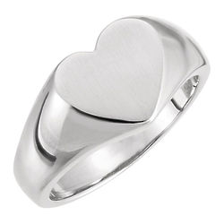 Engravable Sterling Silver Signet Heart Ring