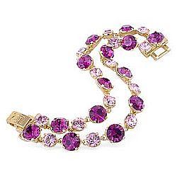 Pink & Amethyst Swarovski Crystal Gold Plated Bracelet