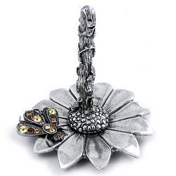 Pewter Flower Ring Holder