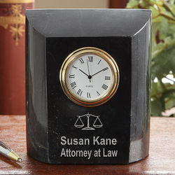 Personalized Attorney At Law Marble Desk Clock