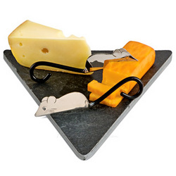 Nice Mice Slate Cheese Board & Cheese Knives Set