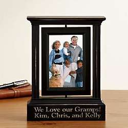Personalized Black Distressed Swivel Single Photo Frame