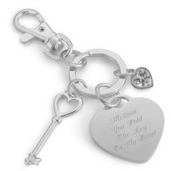 Key and Heart Charm Key Chain