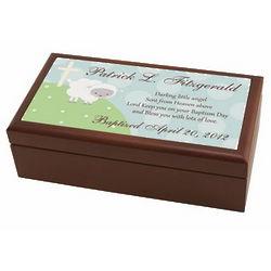 Personalized Little Lamb Baptism Keepsake Box
