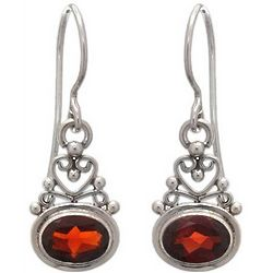 Indonesian Romance Garnet Dangle Earrings