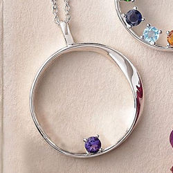 Silver Mother's Embrace Necklace with 1 Birthstone