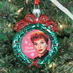 I Love Lucy Glass Wreath Ornament