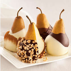 Chocolate and Chocolate Caramel Dipped Pears