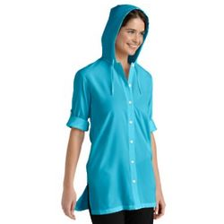 Petite Hooded UPF Beach Shirt