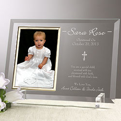 Christened with Faith Engraved Christening Picture Frame