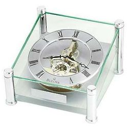 Quantum Glass Skeleton Table Desk Clock