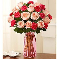 Fair Trade Pink Roses and Mini Carnations Bouquet