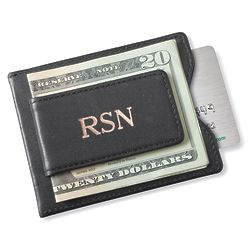 Personalized Leather Magnetic Wallet & Money Clip in Black