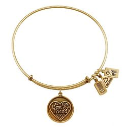 Personalized Wind and Fire Best Friend Gold Charm Bangle Bracelet
