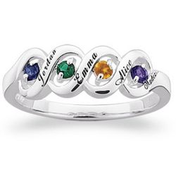 Sterling Silver Ribbon Family Name and Birthstone Ring