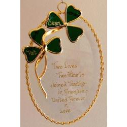Stained Glass Shamrocks on a Beveled Oval