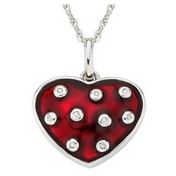 Red Enamel and Diamond Sterling Silver Heart Pendant Necklace