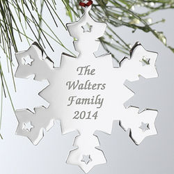 Silver Personalized Snowflake Christmas Ornament