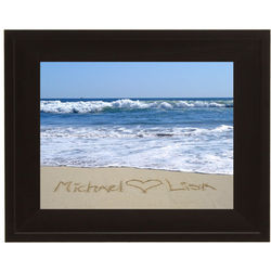 Personalized Who Heart Who Framed Beach Photo