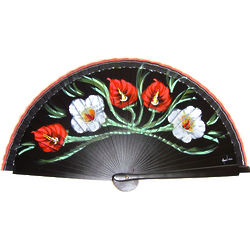 Handpainted Black and Floral Spanish Fan