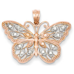 14 Karat Rose Gold Butterfly Pendant