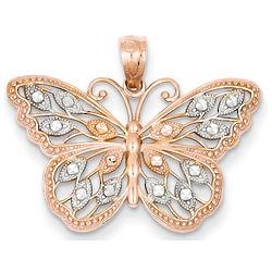14 Karat Rose Gold Butterfly Pendant