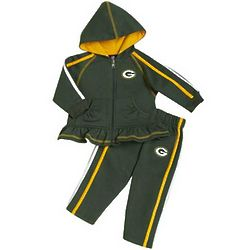 Toddler's Green Bay Packers Ruffled Hoodie and Pants
