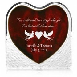Kissing Doves Crystal Heart with Inlaid Rosewood