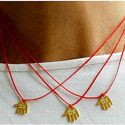 Triple Strand Red Kabbalah Hamsa Necklace